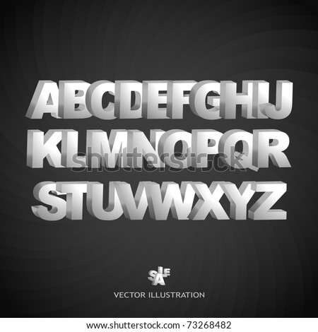 3D alphabet. Metal letter. Vector set. ABC text. - stock vector