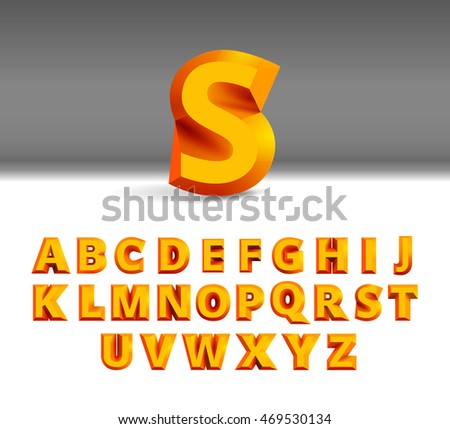 D Alphabet Template Orange Letters Isolated Stock Vector - 3d letters template