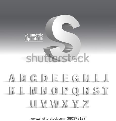 3D Alphabet template.Volumetric alphabet design - stock vector