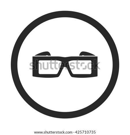 3d anaglyph glasses sign simple icon on  background - stock vector