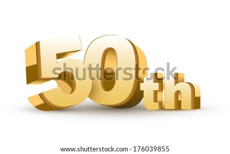 3d anniversary, 50th, isolated on white background