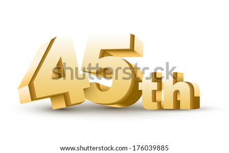 3d anniversary, 45th, isolated on white background