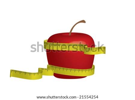 3d apple for diet - stock vector