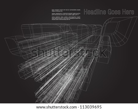 3D Architect wireframe - stock vector
