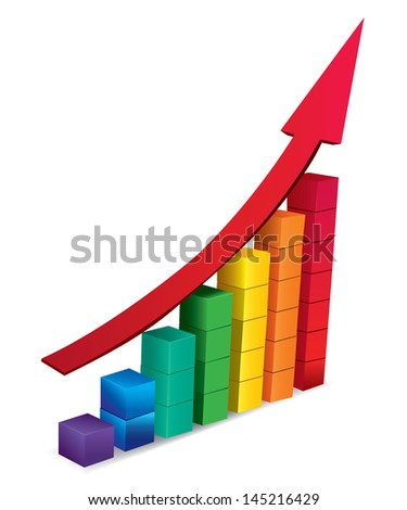 3d arrow and graph growing up. Vector illustration - stock vector