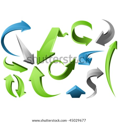 3D Arrow Signs - stock vector