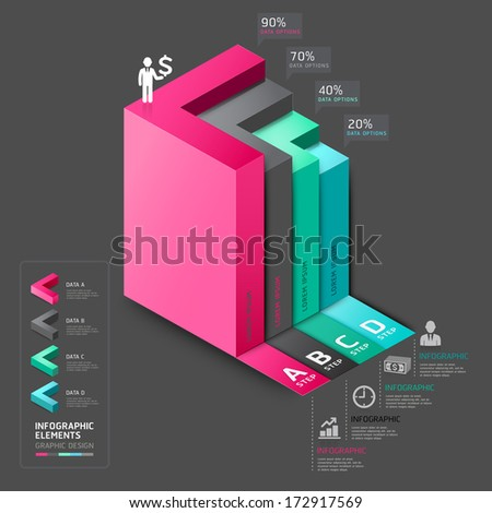 3d arrow staircase diagram business step options. Vector illustration. can be used for workflow layout, banner, number options, step up options, web design, infographics. - stock vector