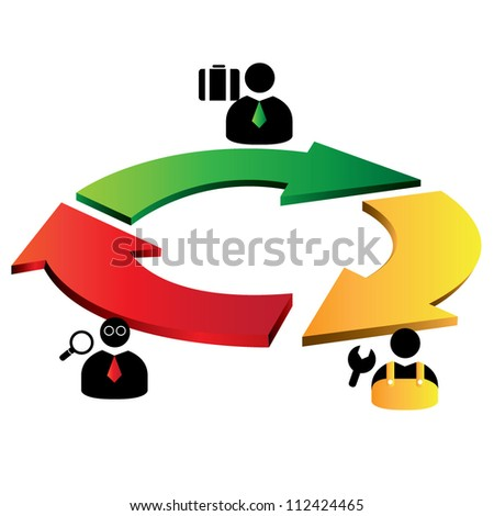 3D arrow, 3 step arrow diagram - stock vector