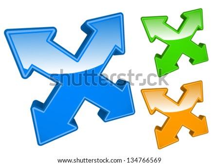 3d arrows /axis, crossing, junction, locating/ - stock vector