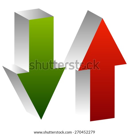 3d arrows point up and down in green and red. Editable vector. Growth, deficit, business concepts - stock vector
