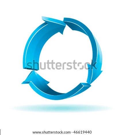 3D Arrows. Recycle symbol. Vector colorful illustration. - stock vector