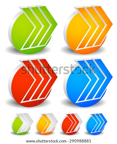 3d arrows with circles. 3 Right arrows. Progress indicator version included for steps, phases, stages. - stock vector