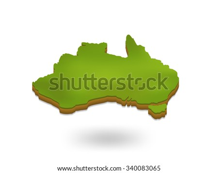 3d australia map - stock vector