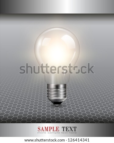 3D background with light bulb illuminated, vector. - stock vector