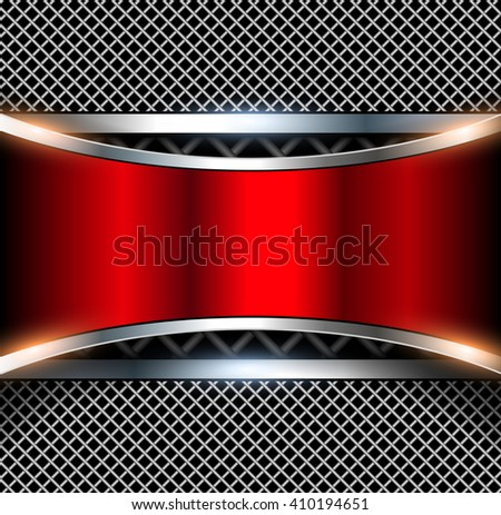 3D background with red metal banner, vector illustration. - stock vector