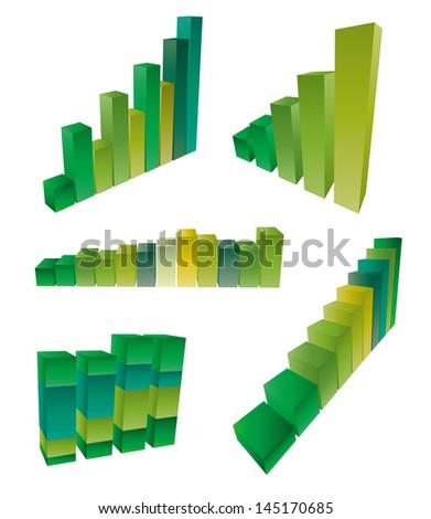 3d bar chart - stock vector