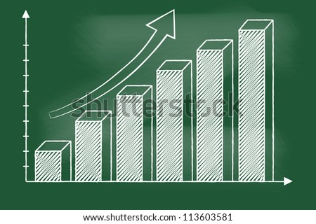 3D Bar chart sketched vector on  blackboard
