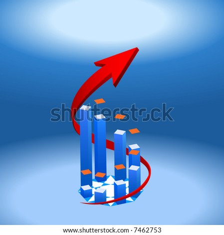 3D bar chart with rounding arrow sign. - stock vector
