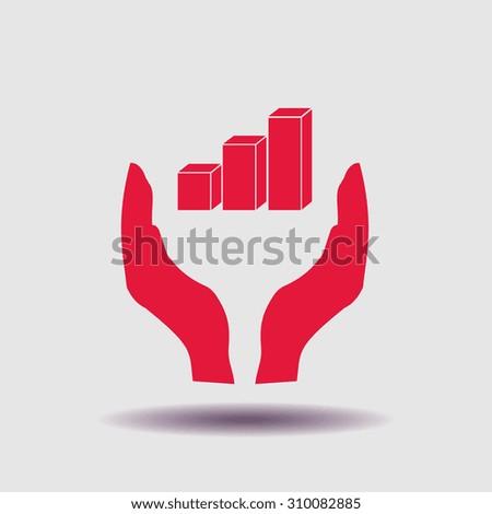 3D bar graph icon, vector illustration. Flat design style. - stock vector