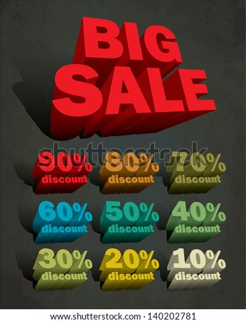 3d big sale text and percent tags - stock vector