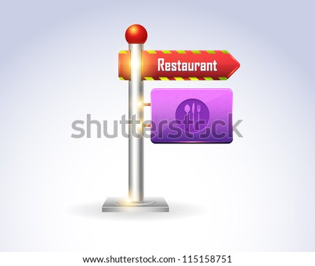 3d Billboard Icon vector Restaurant