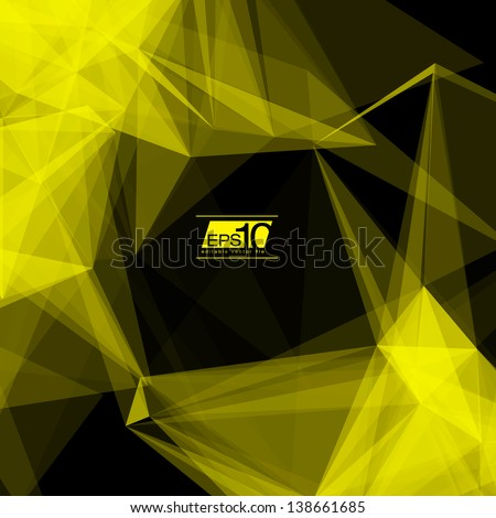 3D Black and Yellow Abstract Mesh Background with Circles, Lines and Shapes | EPS10 Design Layout for Your Business - stock vector