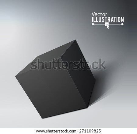 3D Black Cube. Transportation box concept. Vector illustration for your design.