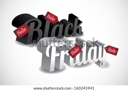 3D Black Friday wears sale tags. Isolated on white. EPS 10 vector, grouped for easy editing. No open shapes or paths.