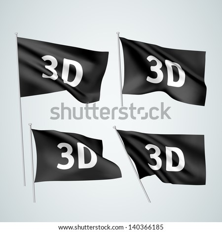 3D - black vector flags. A set of wavy flags created using gradient meshes. EPS 8 vector - stock vector