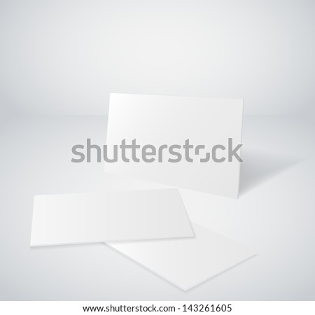 3d blank business card set - stock vector