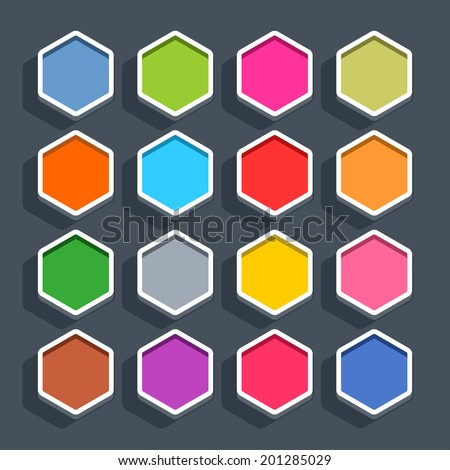 16 3d blank icon in flat style. Set 02 (clicked variant). Colored matted hexagon button with shadow on gray background. This vector illustration web internet design element saved in 8 eps - stock vector