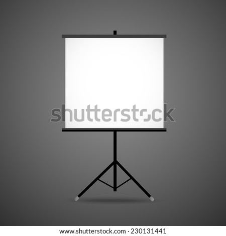 3d blank projection screen template isolated on black background