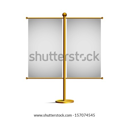 3d blank table flag, isolated on white  - stock vector