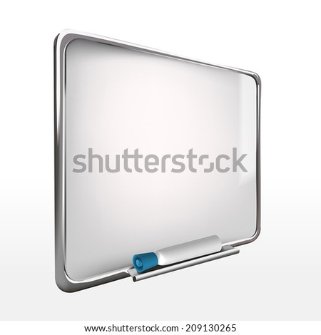 3d blank whiteboard with marker pen isolated on white - stock vector