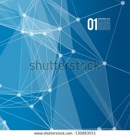 3D Blue Abstract Mesh Background with Circles, Lines and Shapes | EPS10 Design Layout for Your Business - stock vector