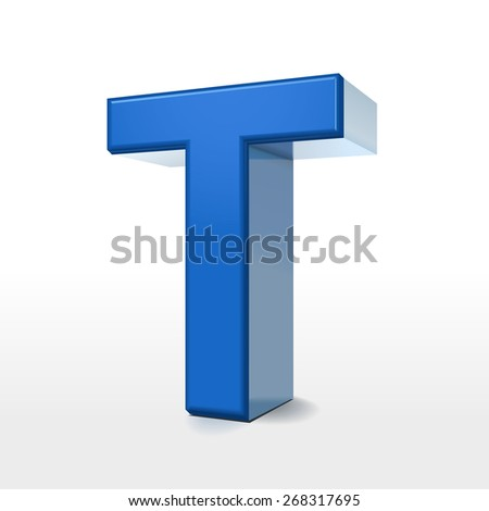 3d blue alphabet T isolated on white background