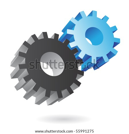 3d blue and black cogs on white background - stock vector