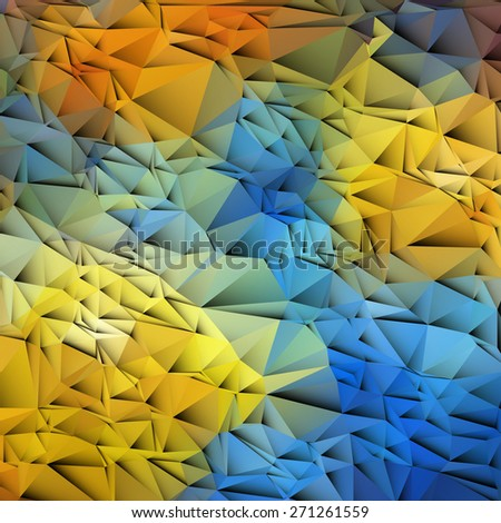 3d blue and yellow colored paper background. Vector EPS10 - stock vector