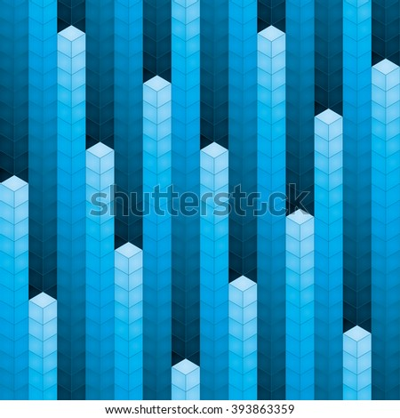 3d blue cubes equalizer seamless background - stock vector