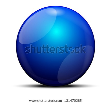 3d blue sphere isolated on white - stock vector
