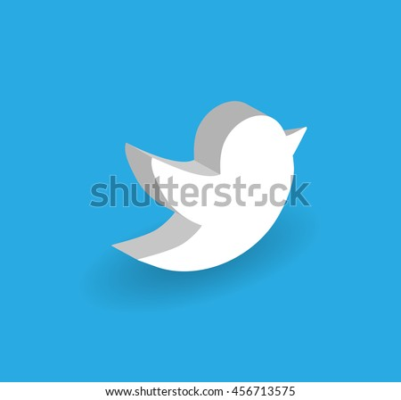 3D Blue Tweet Bird Vector Logo, JPG, JPEG, EPS.Twitter Icon Button.Flat Social Media Twiter Sign