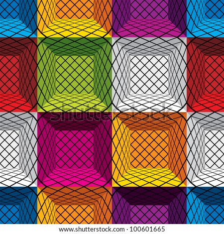 3d boxes seamless pattern, vector background. - stock vector
