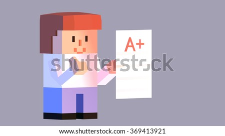 3D boy student cartoon character holding a test exam result paper with good A plus grade sign. Happy smiling kid with thumbs up satisfied his achievements and accomplishment at school. - stock vector