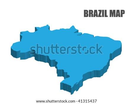 3D Brazil map - stock vector