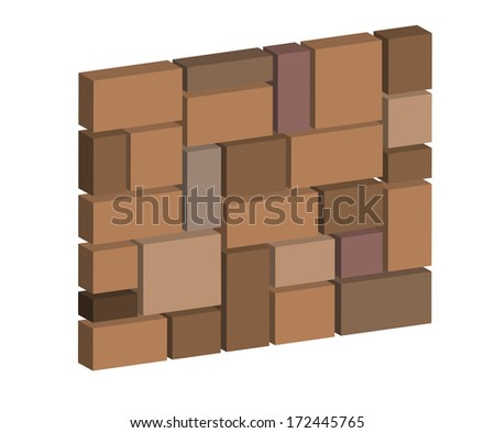 3d brick stone wall, design block stone wall texture for industry - stock vector