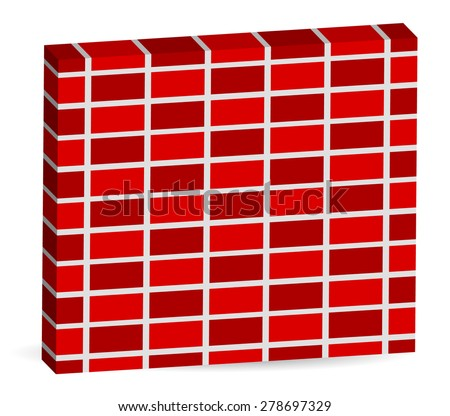 3d Brick wall pattern isolated on white with alternating bricks. Editable vector. - stock vector