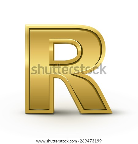 3d bright golden letter R isolated on white background - stock vector