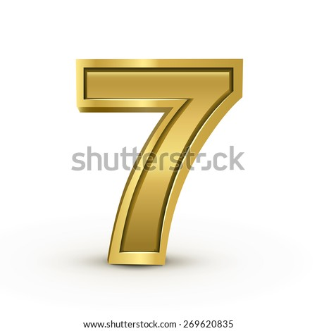 3d bright golden number 7 isolated on white background - stock vector
