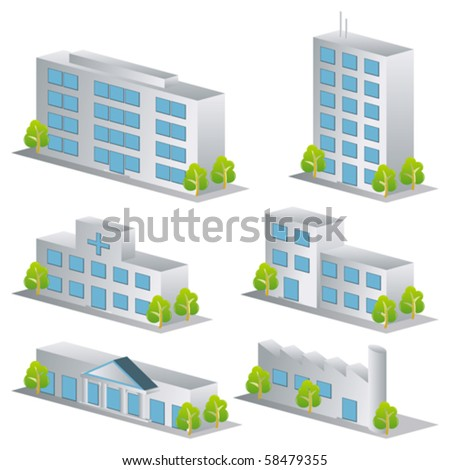 3d building icons set. Architectures image - stock vector