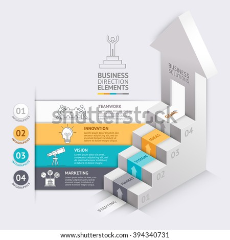 3d Business arrows staircase diagram template. Vector illustration. can be used for workflow layout, banner, number options, step up options, web design, infographics, timeline template.